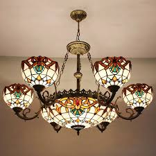 decorative 7 light stained glass shade tiffany style chandeliers