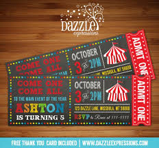 Circus Party Invitation Enchanting Printable Chalkboard CircusCarnival Ticket Birthday Invitation