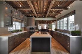 rustic ceiling kitchen contemporary with white countertop cable lighting