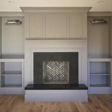 fireplace with gray built ins