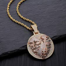 whole mens 18k gold iced out cz cublic zirconia personalized tore heart lung round pendant necklace twist chain hip hop jewelry whole diamond