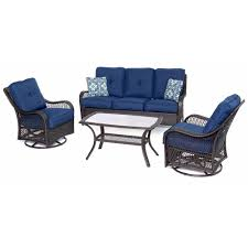 orleans brown 4 piece all weather wicker patio deep seating set with navy blue