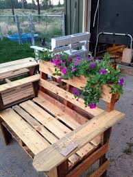 recycled pallet chair with planter