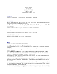 Receptionist Resume Objective For A Veterinarians Assistant Entry