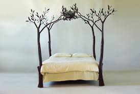 With this bed you can feel as though you were sleeping in the forest. Each  leaf and tendril is hand-forged and unique. (Designer: Shaw Lovell)