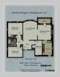 Maryland Court   Standard 3 Bedroom Floorplans   Marquette University  Apartments, Milwaukee WI.