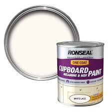 White Kitchen Cupboard Paint Ronseal White Lace Satin Cupboard Paint 750 Ml Departments Diy