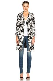 image 2 of burberry prorsum zebra print trench in natural white black