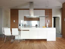 white contemporary kitchens design interior with white kitchen cabinet plus stainless steel hanging chimney over kitchen island on brown wood floor and