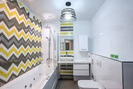 yellow gray bathroom chevron patterned tile design in yellow and gray create a striking bathroom design