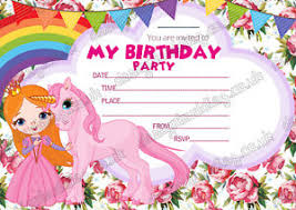 Invitations Card For Birthday Girls Party Unicorn Invitations Cards Birthday Invites Thick Cards X