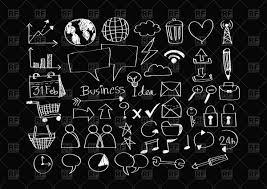 Black Business Background Sketch Of Business Icons On Black Background Vector Illustration Of
