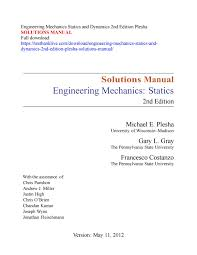 Mechanical Design Of Machine Components Second Edition Solutions Manual Pdf Engineering Mechanics Statics And Dynamics 2nd Edition