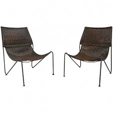 R Picture Of Pair Mid Century Modern Wicker And Iron Frederick Weinberg Sling  Chair