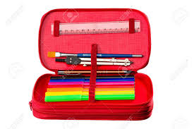 office drawing tools. Stock Photo - Writing And Drawing Tools In A Pencil Box For School, Office Home. C