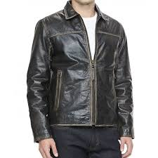 mens black distressed leather moto jacket