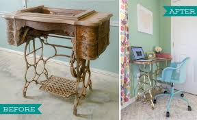 how to reuse the base of an antique sewing machine to create a desk