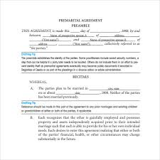 prenup samples 11 prenuptial agreement samples pdf word