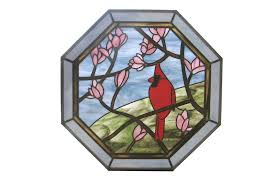 custom made cardinal in magnolia tree stained glass octagon
