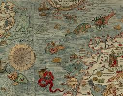 sea monster world map. Exellent Monster Ancient Map Warning Sailors Of Unknown Waters Throughout Sea Monster World Map M