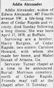 Obituary for Addie Alexander - Newspapers.com