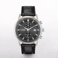 gents citizen eco drive corso chronograph watch with a black leather strap p2257 5461 image jpg