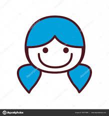 手描きの青いおさげの髪型のシルエット正面顔女の子 ストックベクター