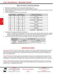 Transformer Chart Line Transformer Selection Guide