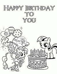 Small Picture My Little Pony Happy Birthday to You coloring page for kids