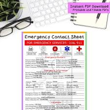 Emergency Contact Printable Emergency Contact Sheet Printable And Fillable Pdf Form Etsy