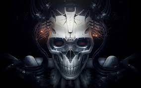 Wallpaper Skull, robot, creative design ...