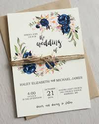 Rustic Navy Blue And Blush Floral Wedding Invitation Set