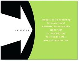 Company Moving Announcement New Business Cards Arts Template Sample