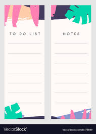 Notes And To Do List Templates Royalty Free Vector Image
