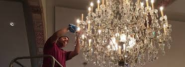 brass and crystal chandelier in los angeles cleaned and polished
