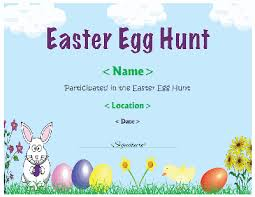 easter egg hunt template easter egg hunt certificate