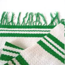 vintage green white striped rag rug small crochet rag rug handmade crochet rag runner floor table