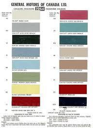 1965 Pontiac Color Chart Auto Paint Codes 1964 Chevelle Exterior Paint Codes