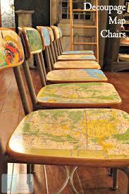 diy decoupage furniture. diy decoupage map chairs diy furniture