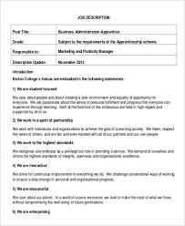 business administration job description