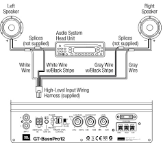 "jbl gt basspro12 powered car subwoofer wiring diagram circuit use at least 12 awg 2 052mm wire for the positive battery "" 12v"" and ground ""gnd"" connections connect the gt basspro12 s "" 12v"" terminal directly to"