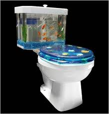 Tank God the Fish 'n Flush Toilet water is filtered!