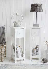 bar harbor narrow white bedside table
