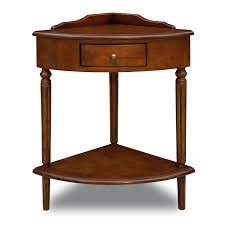 wood end tables. Corner Compact Wood Accent Table With Small Drawer And Lower Shelf End Tables