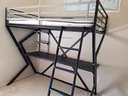metal bunk bed with desk. Delighful Bunk Image Is Loading KidsBlackMetalLoftBunkBedwithdesk Intended Metal Bunk Bed With Desk