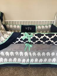 baby bedding crib set navy blue mint grey gray elephant nursery boy deposit down payment only read details