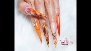 Nail Show Design Reverse Acrylic French Nails Autumn Inspired Nail Design