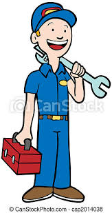 Mecânico, homem. Wrench., toolbox, repairman, segurando, uniforme.    CanStock