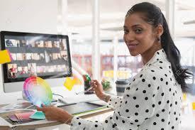 Designer Stock Photo Portrait Of Beautiful Young Mixed Race Female Graphic Designer