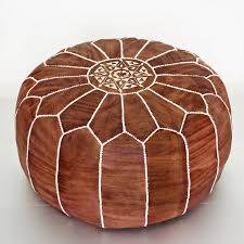 moroccan leather pouf dark brown